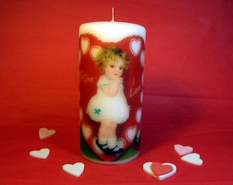 Vintage Valentines Day Decor; Valentine Candle; Valentine Decor; Wife Gift for Her; Valentine Decoration; Valentines Day Gift