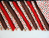 SALE - Red and Brown Polka Dot Pennant Banner - 15 Flags