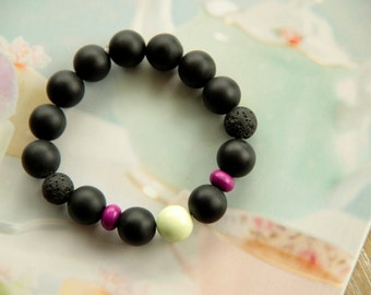 Bracelet in Matte Black Green Tea and Cyclame