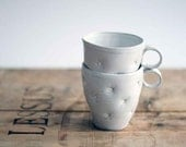 Cute white ceramic cup, handmade and decorated with pillow effect - OlisCupboard