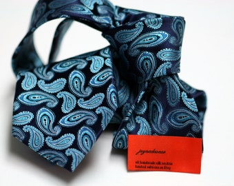 Silk Tie (3inch) in Paisleys with Turquoise and Navy