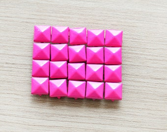 50pcs of Hot Pink Pyramid Studs For Craft - 9 mm
