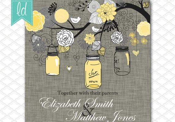 Items Similar To Wedding Invitation Mason Jar Yellow And Gray Wedding On  Linen   Birthday Invitation   Baby Shower Invitation   Bridal Shower On Etsy