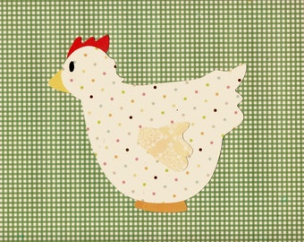 Farm Animal Hen Chicken Applique Template