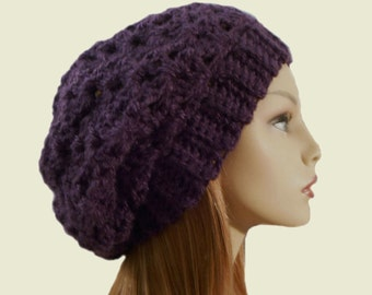 Slouchy Hat Beanie Purple Slouch Women Teen Eggplant Plum Knit Dark Purple Beany Crochet Hat