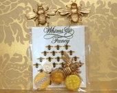 Vintage Buttons Bumble Bee selection of  honey yellow lucite buttons honeycomb and glitter patterns rose cabochon craft decor