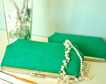 Free US Shipping Trendy Emerald Green Linen Clutch Purse Bag Set