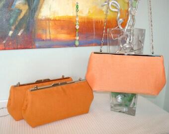 Free US Shipping Tangerine Orange Silk and Linen Bridal Wedding Bridesmaids' Evening Clutch Purse Bag Set