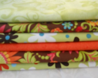 Orange Quilt Fabric, Stash Builder, Brown Fabric, Green Floral Fabric, (6) Yard Fabric Bundle, Fabric By The Yard. 36'' Length x 42'' Width.