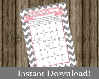 Baby Shower Bingo Game Cards gray chevron and pink INSTANT DOWNLOAD diy digital printable file print your own , babyshower activity idea