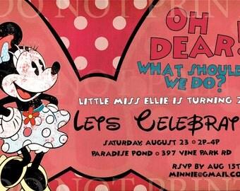 Vintage Minnie Mouse PRINTABLE INVITATIONS // Customizable // 4x6 // Digital