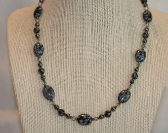 Snowflake Obsidian and Iris Necklace (1021)
