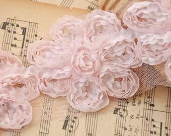 Pink Rose Lace Trim Chiffon 3D Flowers Lace Applique Trim 2.6 width