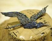 Vintage Hummingbird Sapphire and Green Crystal brooch