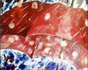 """Abstract painting umbrella stretched canvas textured Ready to hang red blue rain 16x16"""""""