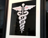 "Hippocratic oath - ""first, do no harm"" caduceus word cloud 8 x 10 medical poster/print"