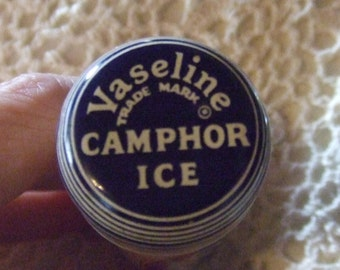 """Vintage Can Tin Container Vaseline Camphor Ice  3 1/2"""" long  X 1"""""""