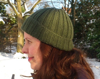 Green Ribbed Beanie Hat
