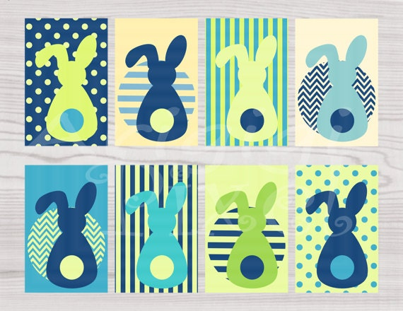 Blue green printable Easter Bunny gift tags for Easter basket and favors - Instant Download - PNG file - PDF file