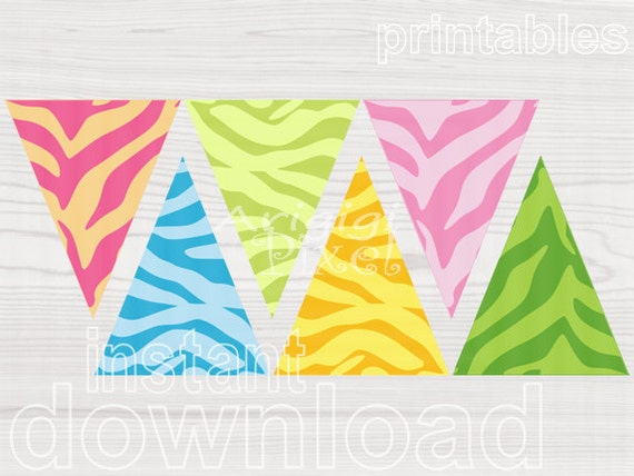 Printable Zebra Pennants Banner - Spring Colors - Download - Pink Green Blue Yellow - spring holidays DIY garland