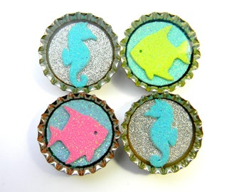 SALE Seahorse and Fish Glitter Resin Filled Bottle Cap Magnet Set of 4