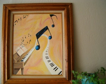 Vintage Wall Art, Music Painting, Music Notes, Piano Painting, Original Art Painting, Music Art, Music Painting, Music Find