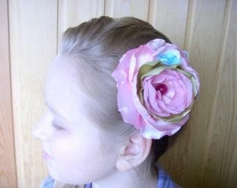 Clip for hair  Spring  Pink Wedding  Spring flowering Flower accessories  Wedding Spring palette  Gently pink flower Huge hair flower