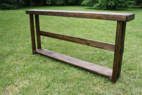 Large rustic dark walnut stain 8 3 4x80x33h long sofa console for Long rustic table