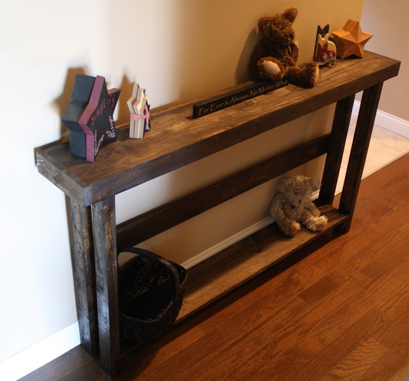 8 3 4 x 60 x 33h rustic dark walnut stained 5 foot sofa for 5 foot console table