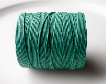 Jade Green 7 ply Irish waxed linen cord (3 yards) - Sage Irish waxed linen, Irish waxed linen thread, uk thick irish linen cord