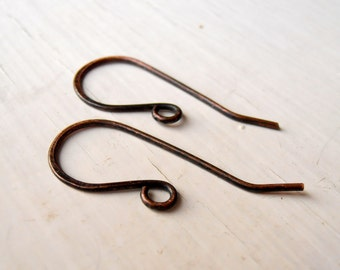 Rustic Copper simple ear wires, 5 pairs, .8mm (20g) copper wire, handmade findings, handmade earwires, unique earwires, dainty earwires