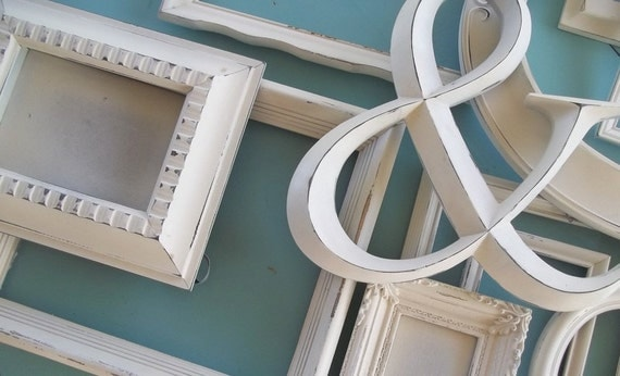 Wall Collage Picture Frames distressed creamy white gallery frame set~ farmhouse wall decor