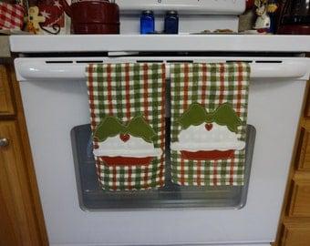 Set Of Soft Cotton Hand Appliqued Pie Dish Towels,,, Pie Collector... Decor...Lover.... Kitchen Decor,,,, Home Decor......