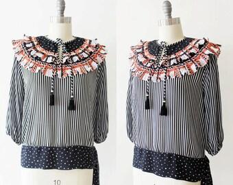 1980s Diane Freis blouse / 80s blouse /  Vintage top / Medium