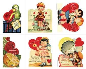 Actual Size, 1940s-1950s KIDS Classroom Valentines Collage Sheet 013