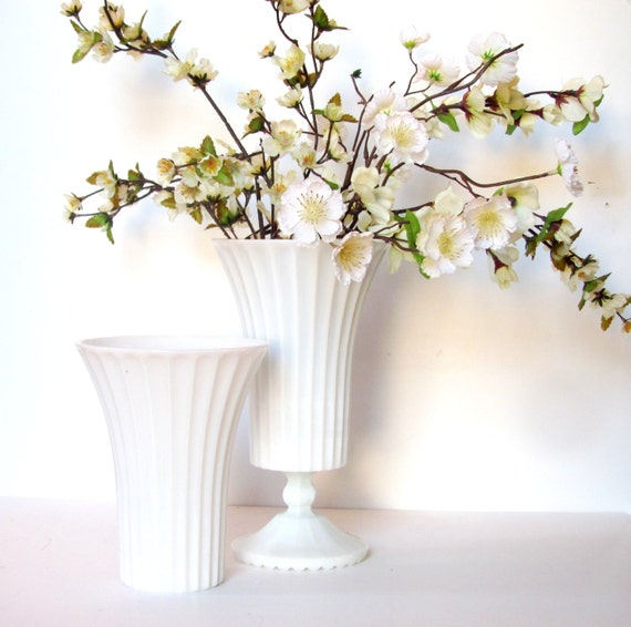 2 Large Milk Glass Vases Large White Flower Vase Wedding By NeoZao