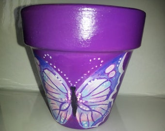 Hand painted pot 3 1/2 in. Purple with Butterfly