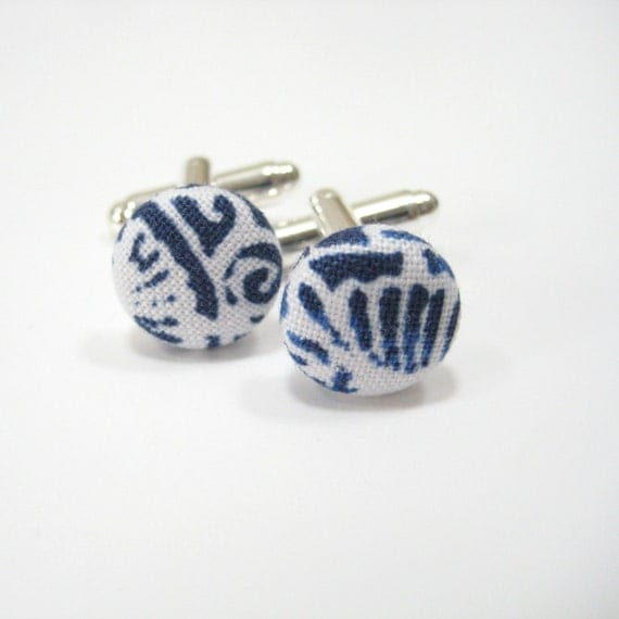 Cufflinks That Go With A Shirt Blue White Button By