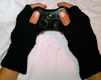 Mens crochet fingerless gloves