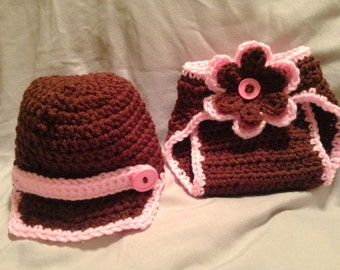 Crochet Newborn baby girl newsie hat and diaper cover set Custom made to order any color