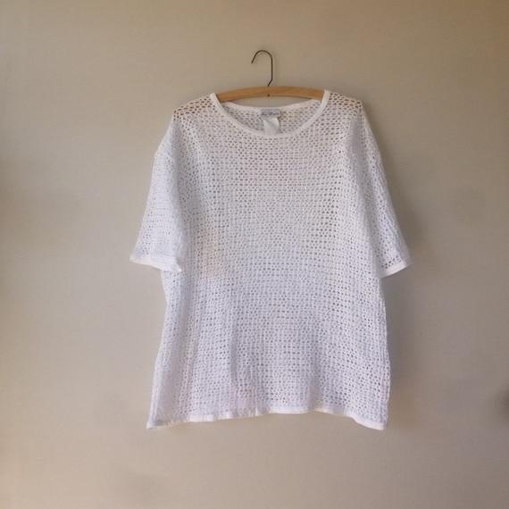 Oversized Mesh T Shirt 80 39 S White Mesh Tee Vintage