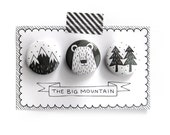 """Set of 3 pinback buttons """"The Big Mountain"""" Free Shipping!"""
