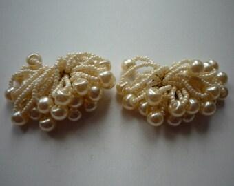 Beautiful vintage Clipon Bridal Wedding Cluster Pearl Earrings