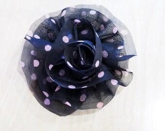 Large Black & Light Pink Polka Dot Flower Clip