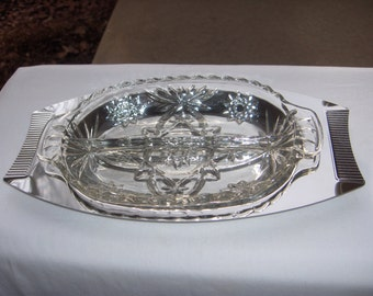 KROMEX RELISH TRAY Stunning Server with Two Sections Olives and Pickles and Peppers