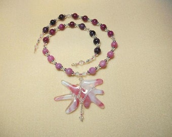 Fairy Wings necklace set - pink