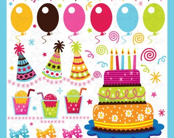 Birthday clip art Set Collection party clipart Bs008 Personal and Commercial Use,cards, invitations, scrapbooking and all paper crafts