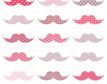 Mustaches Clip Art , Pink Mustaches, Baby Pink Mustaches perfect for Scrapbook, Cards, Invitations,Personal and Commercial Use Oth004