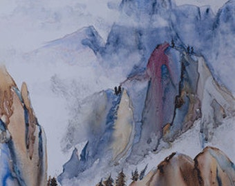 Huangshan Mountains (Watercolor on YUPO)