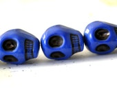 Skull Bead Midnight Blue 12x5mm 5 Beads